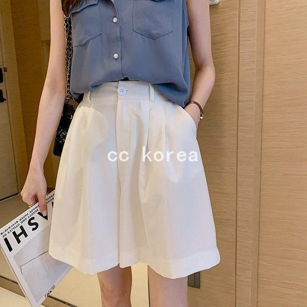 A字版型高腰修飾身形寬鬆短褲 CC KOREA ~ Q23704