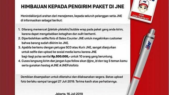 Cuitan surat imbauan JNE ala surat imbauan Garuda Indonesia