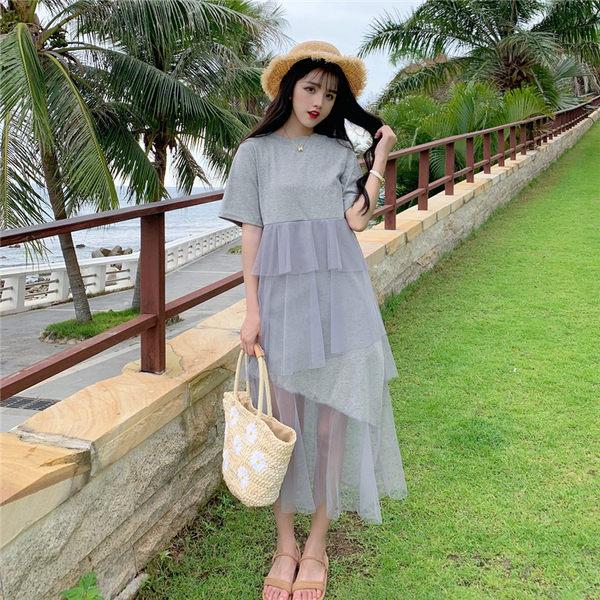 【GZ83】正韓 素面純色網紗拼接不規則下擺蛋糕連身裙連身長裙洋裝