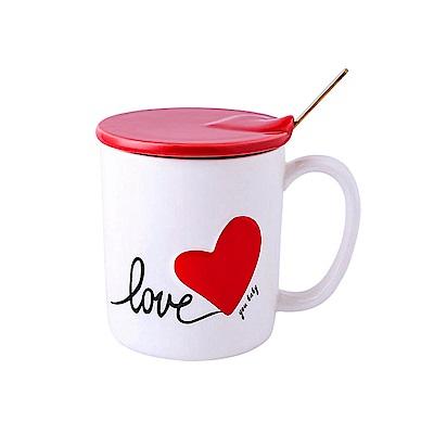 愛之心馬克杯 (附蓋+攪拌棒) - 白-紅心 牛奶/咖啡/果汁杯