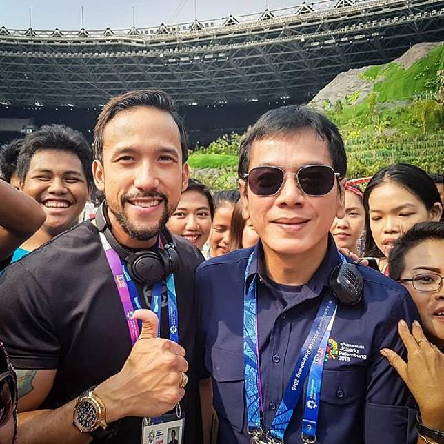 Maruli Tampubolon bersama creative director opening ceremony Asian Games 2018, Wishnutama. (Instagram)