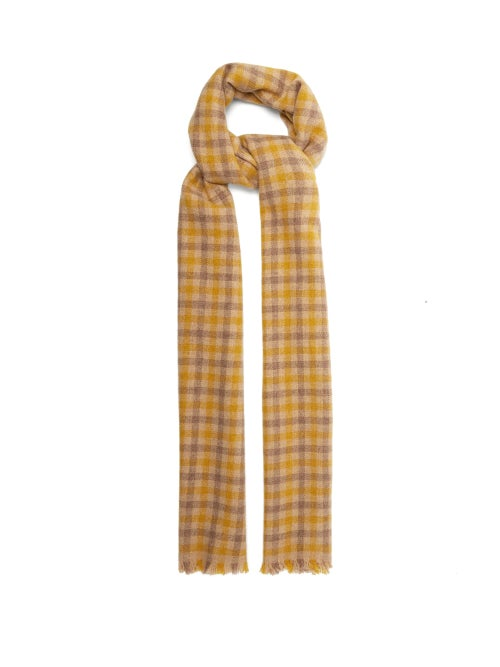 Acne Studios - Acne Studios' designed-for-the-everyday aesthetic informs this yellow, beige and brown Varney scarf. It's crafted in Italy in checks from a soft wool blend, finished with a classic fringe. Style it for a burst of vibrant colour against a simple coat.