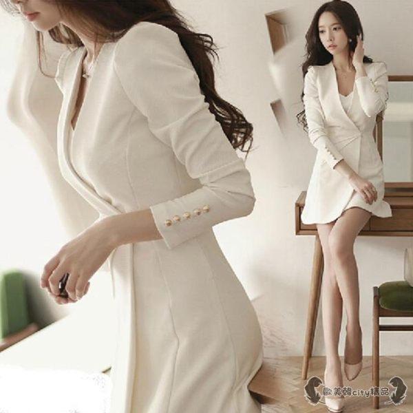 職業洋裝 氣質職業女裝ol性感名媛氣質時尚西裝連衣裙套裝 - 歐美韓