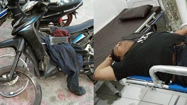 Kondisi korban dan Honda Revo milik korban yang ringsek di bagian velg pasca menabrak tembok.