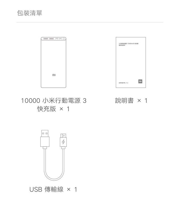 【無賴小舖】小米行動電源3 10000mAh 快充版 18W快充 USB-C 雙向快充 行動電源 移動電源 隨身充