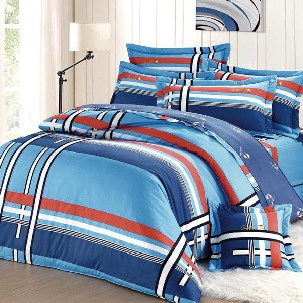 【Arnold Palmer雨傘牌】爵士格調-台製40紗精梳純棉床包枕套雙人加大三件組