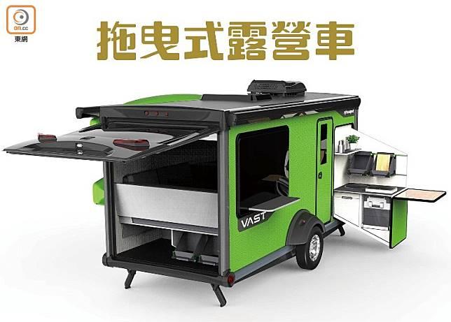 停在露營地點後,可抽出不同的設備如廚房,非常方便。(互聯網)