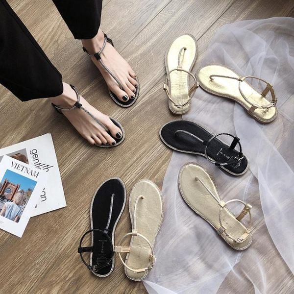 夾腳涼鞋女韓版細帶水鉆羅馬鞋chic仙女風平底鞋 名購居家
