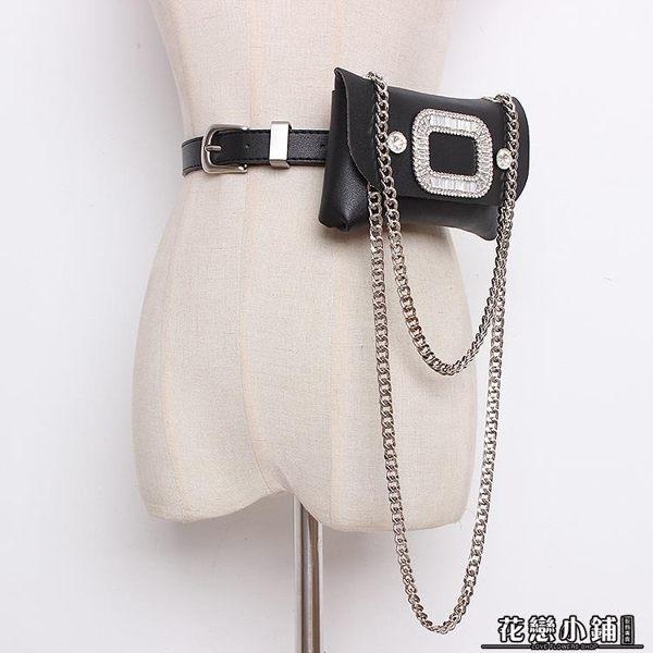 可拆卸單肩斜挎包凹造型 蛇皮紋鏈條腰包腰帶