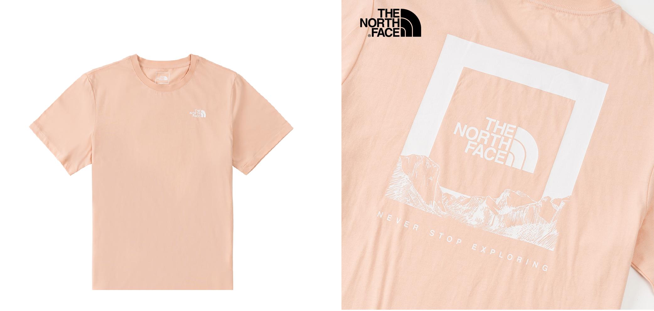 北面男女款粉色背部LOGO印花短袖T恤