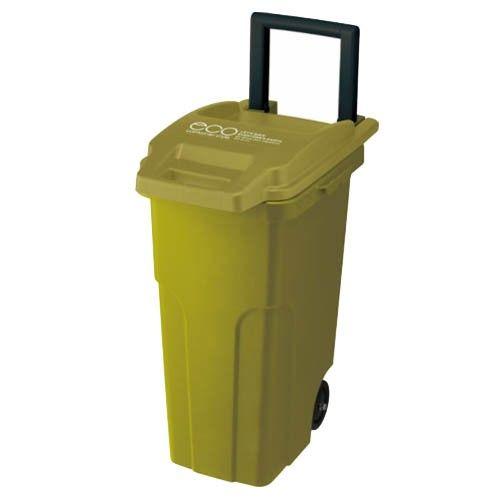 日本 eco container style - 機能型戶外拉桿式垃圾桶-橄欖黃綠-45L