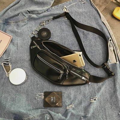 (全館一件免運費)(PP-7559)斜背包百搭時尚復古金屬鏈條機車包個性腰包