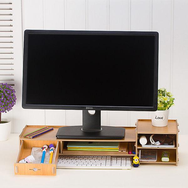 螢幕架 鍵盤架 木製抽屜桌上收納盒 DIY電腦架 桌上架《YV7599》HappyLife