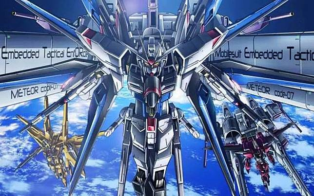突擊自由高達不但有「超級龍騎兵」系統,它跟自由高達一樣,可結合「流星號」施展壓倒性火力。(互聯網)