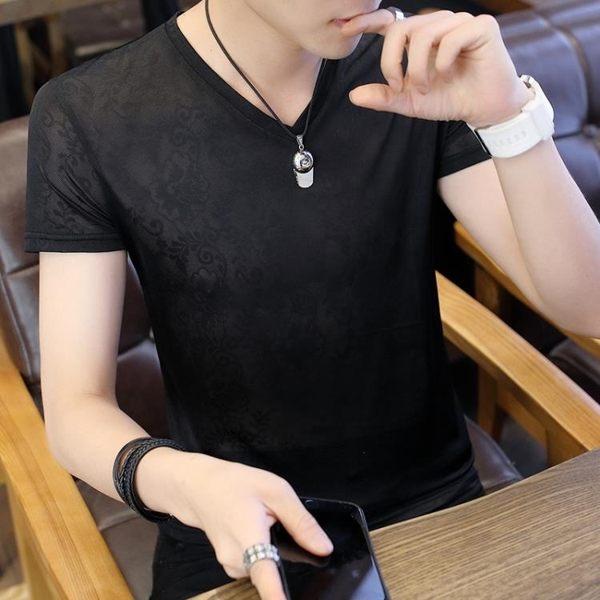 森雅誠品 短袖t恤男夏季V領鏤空暗花冰絲半袖體恤男正韓潮流男裝帥氣上衣服