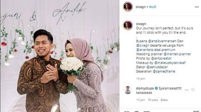 Andik Vermansah dan Silvia Anggun resmi tunangan. (Instagram/@slvagn).