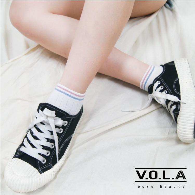 [VOLA]台灣製 短襪 船襪 韓系細條設計 棉質舒適 MIT [滿499元送涼感船襪]