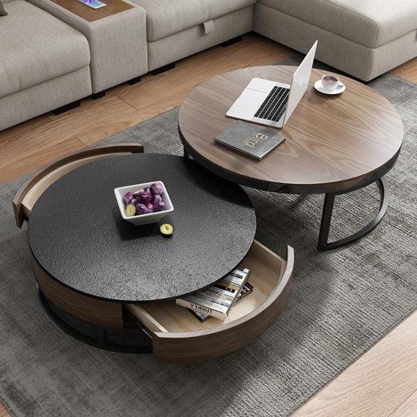 大小圓幾 北歐小戶型客廳組合圓形茶桌火燒石茶台 家用電視櫃茶幾 城市科技DF