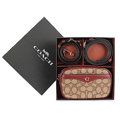 COACH 經典滿版LOGO織紋拼接皮革斜背相機包/腰包雙背帶禮盒組-櫻桃紅/咖啡色