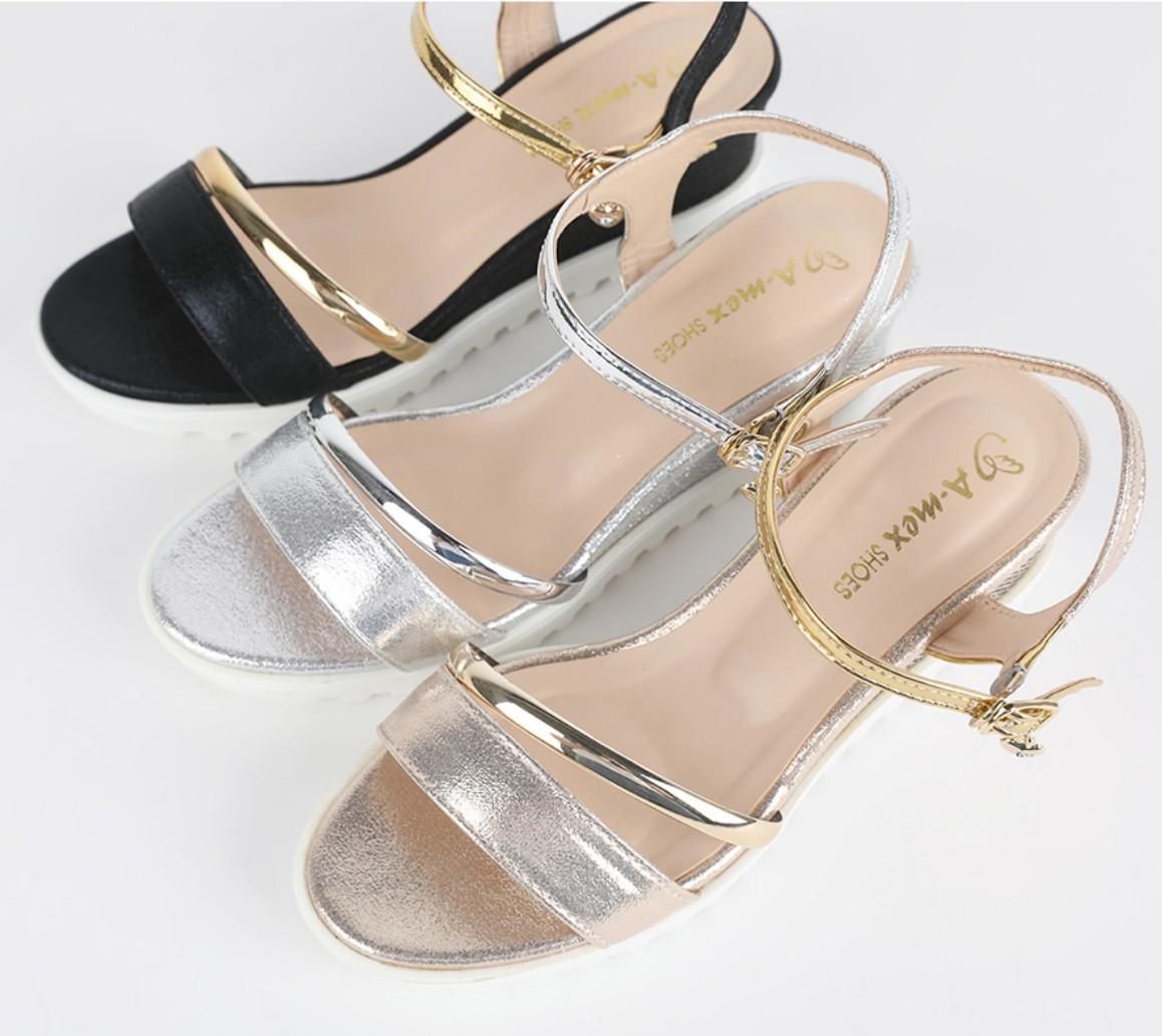 [Joshua Mins] SHINee 坡跟 束帶 涼鞋 5.5cm 銀色