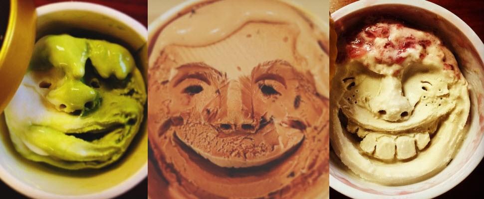 日本男子秀手藝,冰淇淋上雕人臉