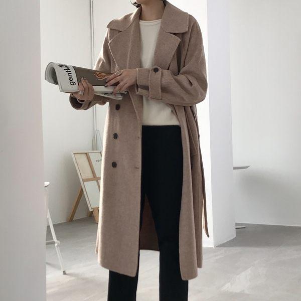 毛呢大衣 羊毛外套-雙排扣繫帶寬鬆長版女外套[巴黎精品]