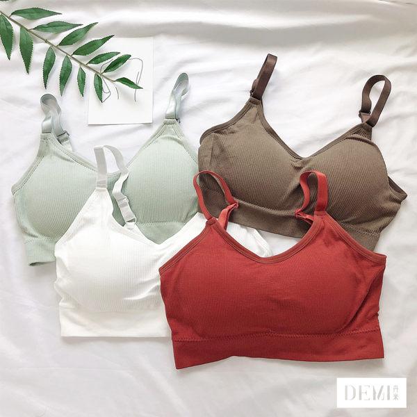 坑條可調肩帶內衣Bra 舒適棉質扣帶罩杯小可愛 單一尺寸 (白/紅/綠/咖啡)【DEMI丹米】