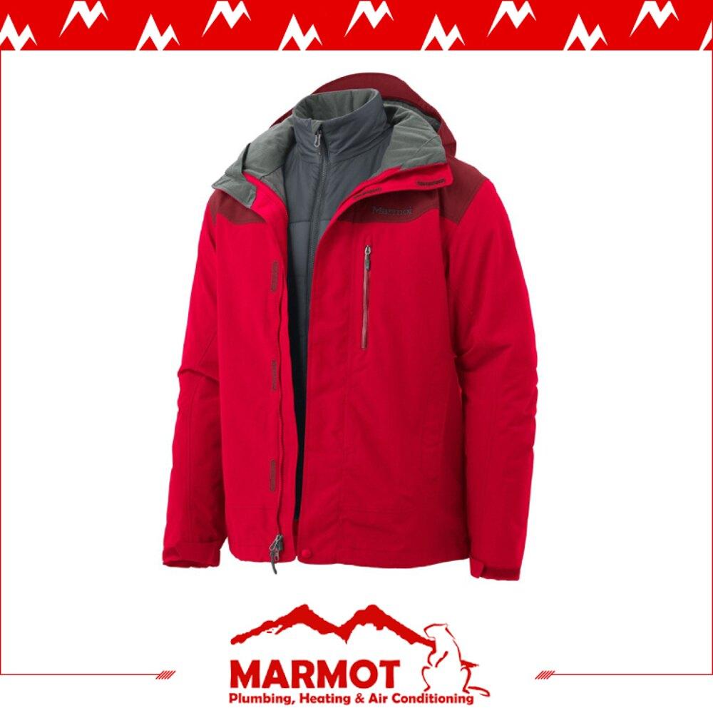 【MARMOT 男 Bastione兩件式防水透氣外套《紅》】40320/保暖外套/刷毛內裡/連帽夾克/透氣/防風