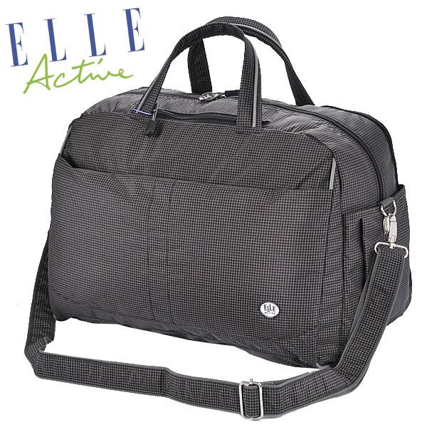 """ELLE ACTIVE活力系列都會休閒旅行袋 E7111406BK 黑色 材質:100%尼龍纖維 主體:長43*寬20.5*高32公分 背帶:寬度3公分 高14公分 法國品牌ELLE是法語是""""她""""的意"""