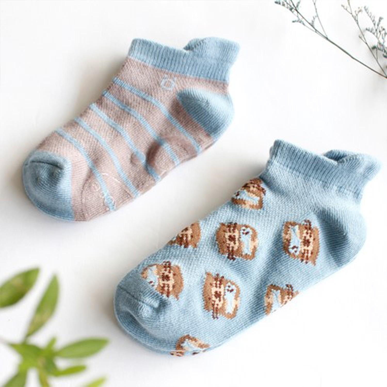minihope美好的親子生活 - 抗菌除臭網眼短襪組(2雙入)-水獺組-粉藍-水獺x1+條紋x1