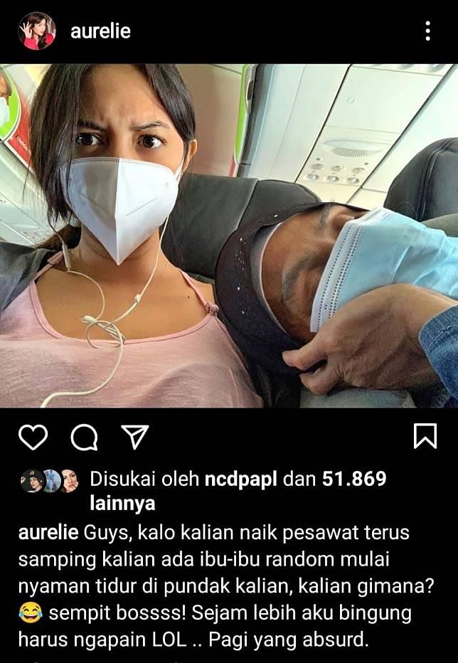 Aurelie menceritakan pengalaman menariknya saat naik pesawat