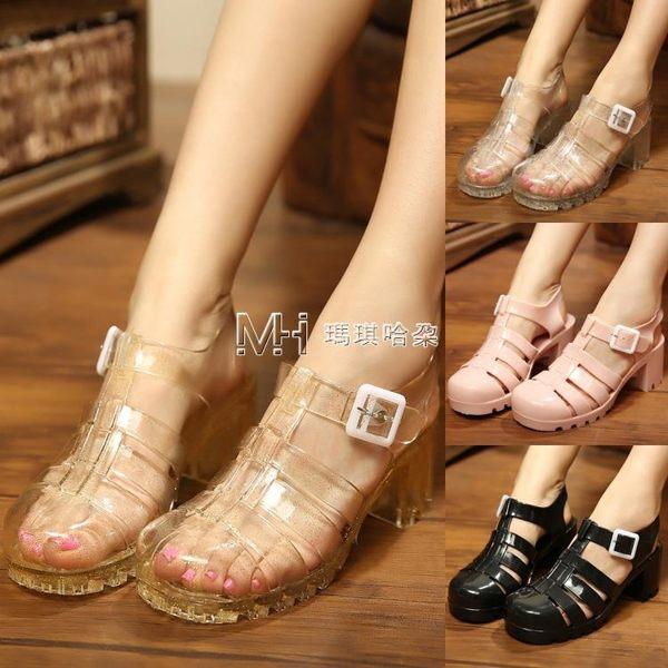 雨鞋 韓版果凍鞋女涼鞋透明水晶防滑防水雨鞋中高跟粗跟 瑪奇哈朵