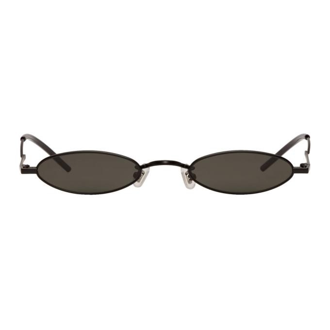 哑光黑不锈钢圆框太阳镜。灰色 100% UV 防护镜片,透明橡胶鼻托。模塑鼻桥和镜脚,同色醋酸纤维镜脚套。尺寸:51.24 134。SSENSE 独家发售。