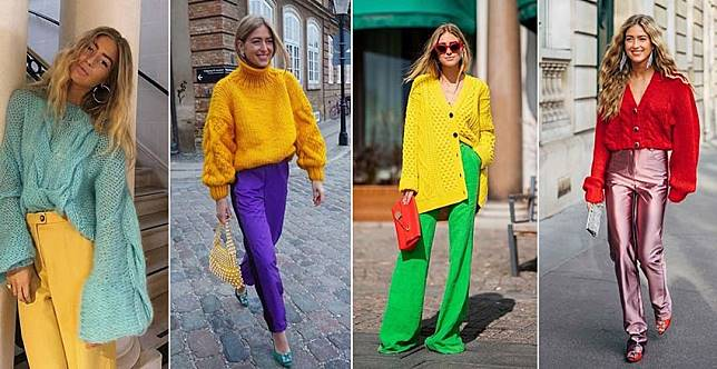 看她的穿搭心情會變好~丹麥博主的彩虹毛衣,用配色打亮冬天