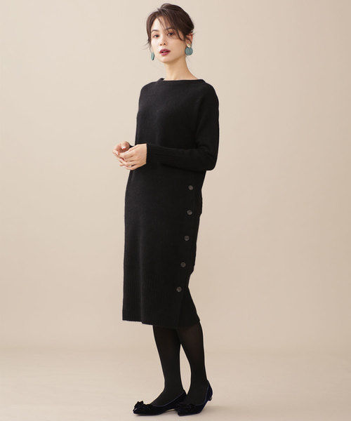 nano・universe 側邊鈕釦針織連身裙:單穿