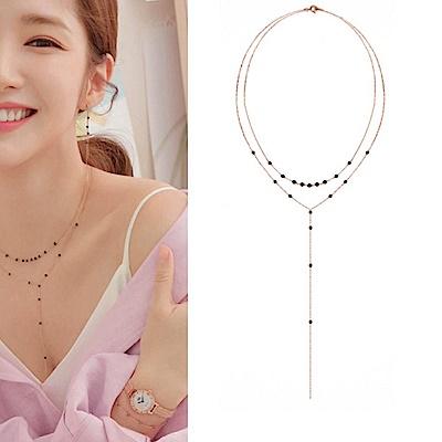 Hera 赫拉 韓款925銀韓劇她的私生活雙層黑晶項鍊