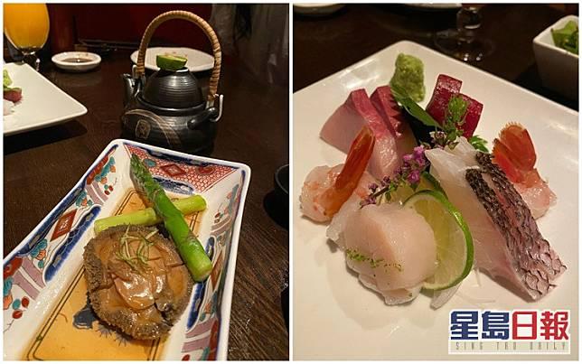 她們食日本菜慶祝,有魚生和鮑魚。