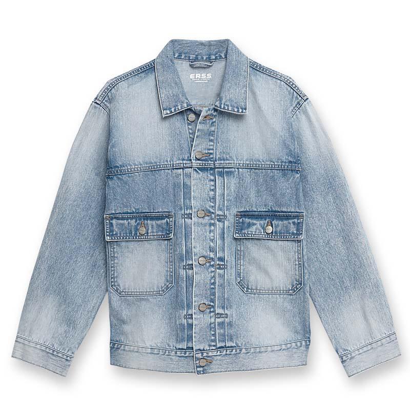 【ERSS】貼袋牛仔外套 - 男 重漂藍 K10022