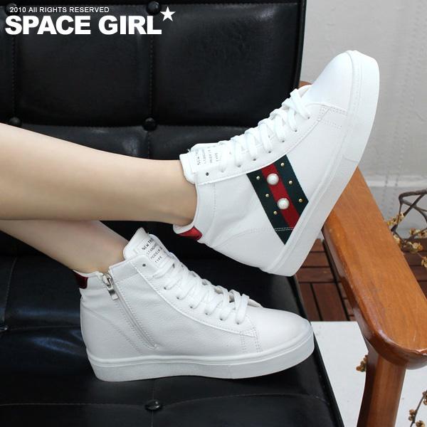 [Space Girl] 內增高配色線條珍珠綁帶休閒鞋