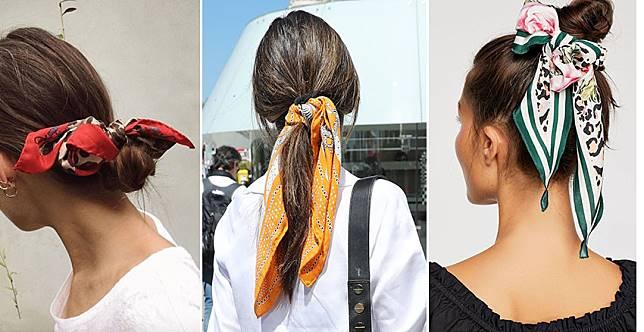 拍照一秒有型!絲巾髮帶隨手一綁,樸素髮華麗變身