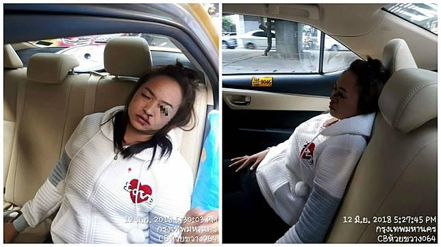 女乘客在搭車時遇到車禍,因為撞擊力道過大,導致眼線筆插入她的左眼。(圖/翻攝自NAKON45 อัญวุฒิ โพธิ์อำไพ臉書粉絲團)