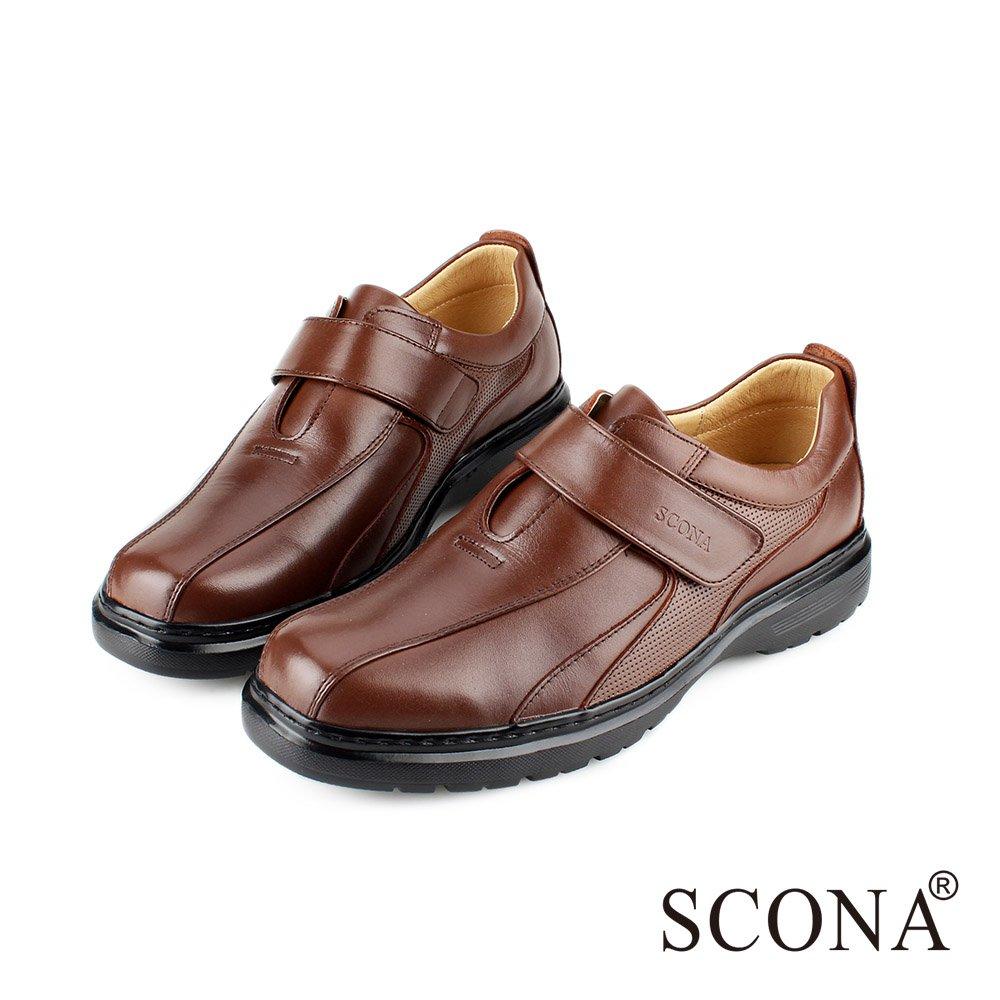 SCONA 蘇格南-(男)-全真皮都會輕量側帶紳士鞋 咖啡色 0845-2