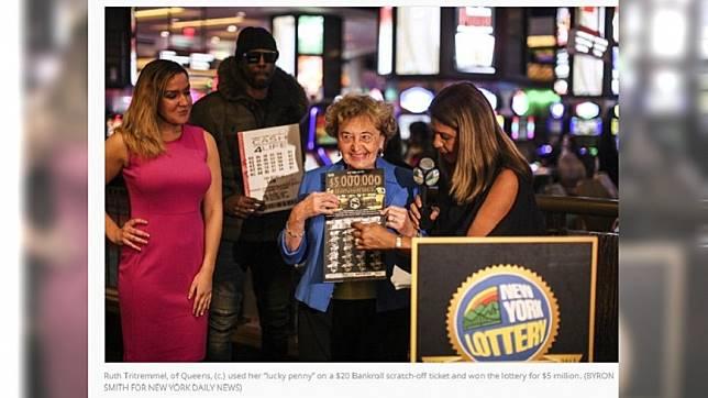 美國一名婦人刮中1.4億大獎,事後領獎時坦承自己爽到差點昏倒。(圖/翻攝自紐約每日新聞)