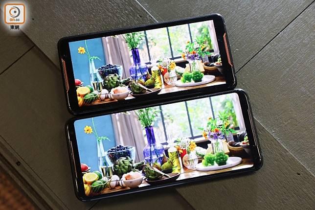 ROG Phone 2(下)屏幕較上代(上)大0.59吋,加上邊框更幼,顯示畫面大增,色彩及細緻度也有所提升。(張錦昌攝)