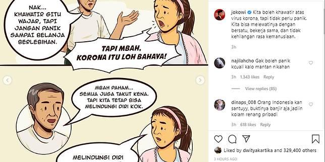 Melalui Kartun Jokowi Ingatkan Masyarat Tak Panik Hadapi Virus Corona