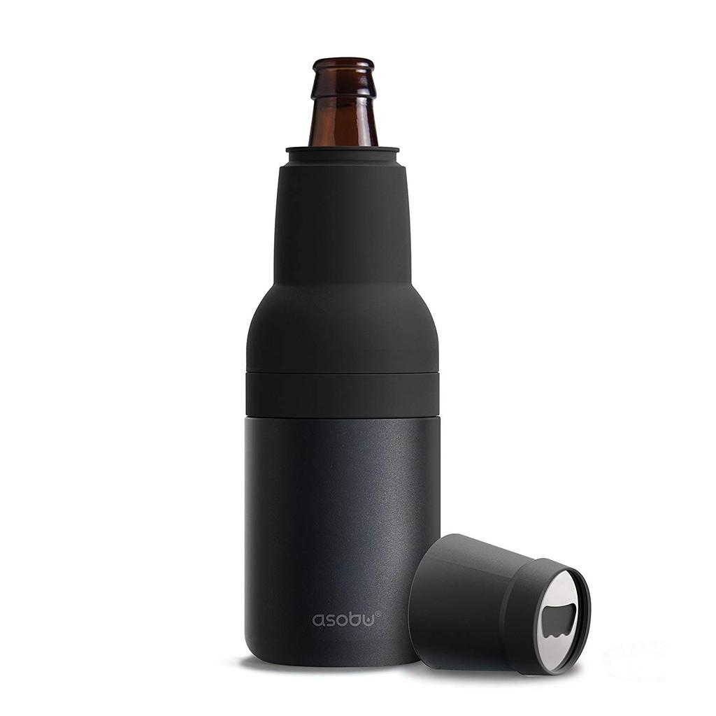 Asobu Frosty Beer 2 Go真空絕熱雙層不銹鋼 啤酒瓶和帶啤酒開瓶器的保冷器 (黑色)