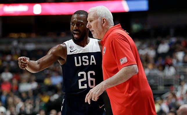 儘管熱身賽敗給澳洲,但美國男籃主帥Gregg Popovich(右)應該對子弟兵還是很有信心(圖/達志影像)