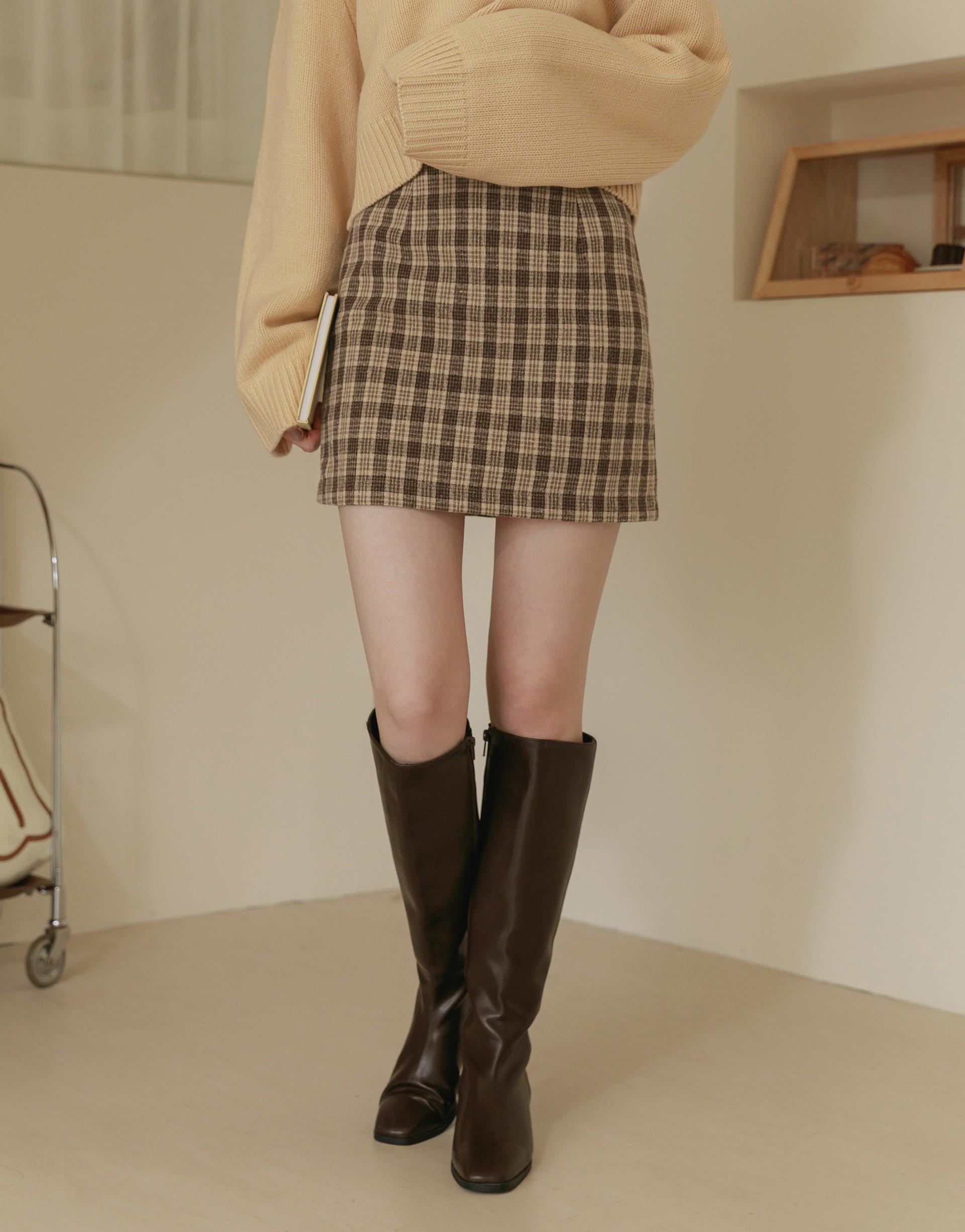PAZZO+BUTTER 奶油格紋顯瘦毛呢裙