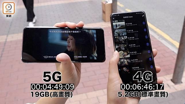 不過下載劇集,5G速度上大幅拋離4G。