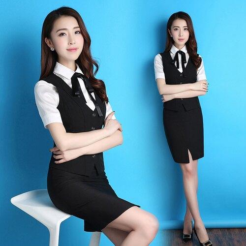 黑色(馬甲+半裙)S夏季職業裝馬甲套裝套裙正裝西裝短裙OL短袖襯衫空姐制服工作服女